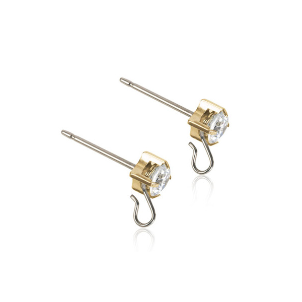 Blomdahl Safety Ear Pin White/Gold - Hairsale.se